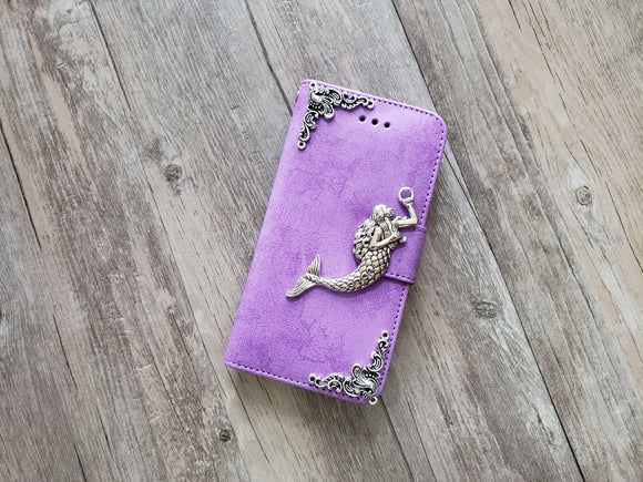 Mermaid phone leather wallet stand removable case cover for Apple / Samsung MN1046-icasecollections