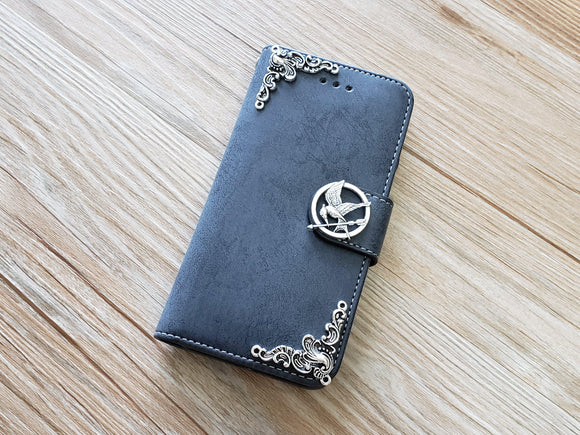 Mockingjay bird phone leather wallet removable case cover for Apple / Samsung MN0897-icasecollections