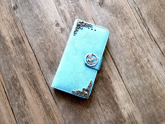 Mockingjay bird phone leather wallet removable case cover for Apple / Samsung MN1154-icasecollections