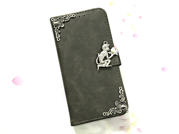 Monkey leather wallet handmade phone case cover for Apple / Samsung MN0606-icasecollections