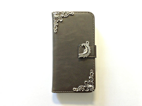 Moon handmade phone leather wallet case for Apple / Samsung MN0131-icasecollections