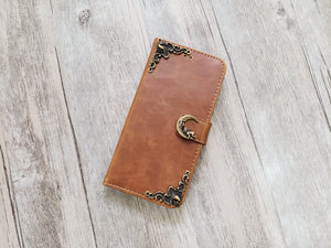 Moon leather wallet handmade phone case for Apple / Samsung MN1107-icasecollections