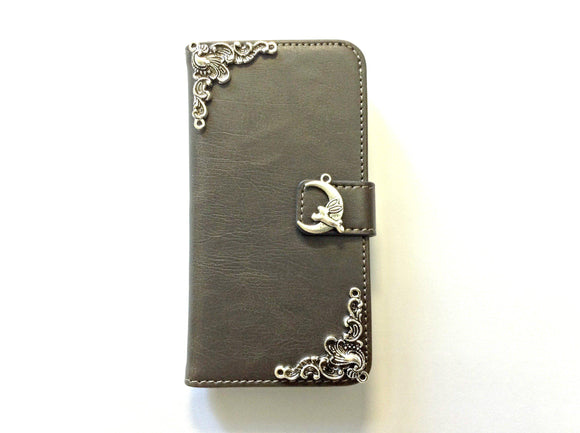 Moon rabbit handmade phone wallet case for Apple / Samsung MN0133-icasecollections