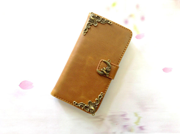 Moon rabbit handmade phone wallet case for Apple / Samsung MN0261-icasecollections