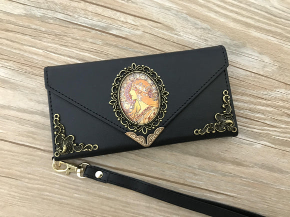Mucha Women phone leather wallet case, handmade phone wallet cover for Apple / Samsung DC011-icasecollections