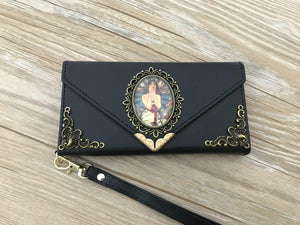 Mucha Women phone leather wallet case, handmade phone wallet cover for Apple / Samsung DC012-icasecollections