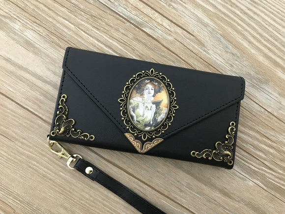 Mucha Women phone leather wallet case, handmade phone wallet cover for Apple / Samsung DC013-icasecollections