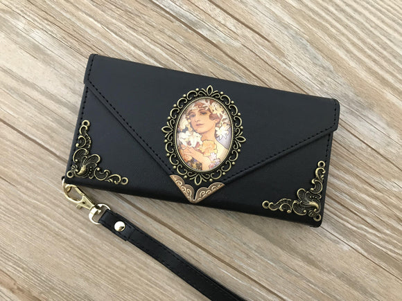 Mucha Women phone leather wallet case, handmade phone wallet cover for Apple / Samsung DC014-icasecollections