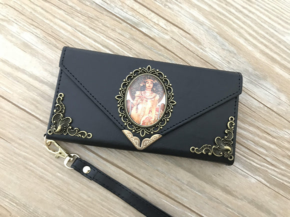 Mucha Women phone leather wallet case, handmade phone wallet cover for Apple / Samsung DC015-icasecollections