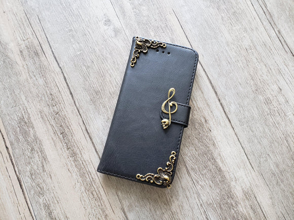 Music skull leather wallet handmade phone case cover for Apple / Samsung MN1128-icasecollections