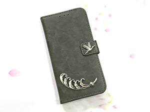 Ocean bird leather wallet handmade phone case cover for Apple / Samsung MN0610-icasecollections