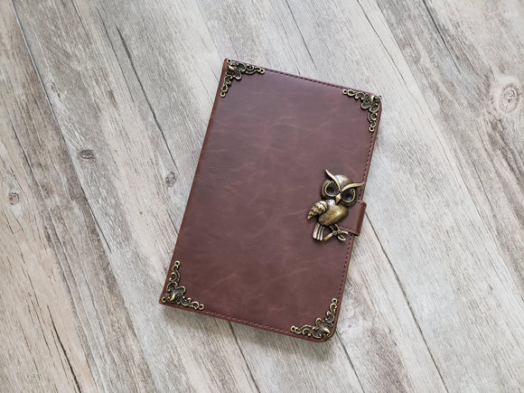 Owl ipad leather case, handmade ipad cover for Apple MN1197-icasecollections