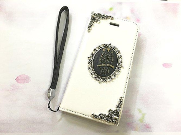Owl leather wallet handmade phone case cover for Apple / Samsung MN0553-icasecollections
