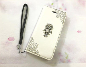 Owl leather wallet handmade phone case cover for Apple / Samsung MN0557-icasecollections
