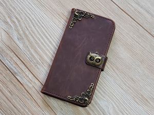 Owl leather wallet handmade phone case for Apple / Samsung MN0780-icasecollections