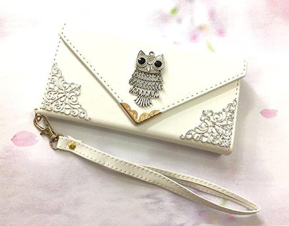 Owl phone leather wallet case, handmade phone wallet cover for Apple / Samsung MN0541-icasecollections