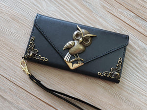 Owl phone leather wallet case, handmade phone wallet cover for Apple / Samsung MN0800-icasecollections