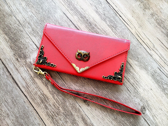Owl phone leather wallet case, handmade phone wallet cover for Apple / Samsung MN1006-icasecollections
