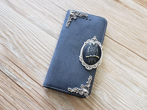 Owl phone leather wallet removable case cover for Apple / Samsung MN0890-icasecollections