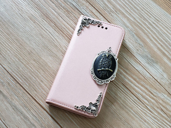 Owl phone leather wallet removable case cover for Apple / Samsung MN0906-icasecollections