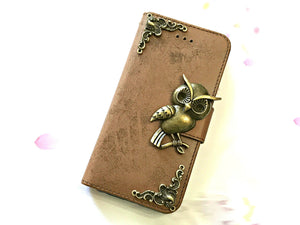 Owl phone leather wallet stand removable case cover for Apple / Samsung MN0645-icasecollections