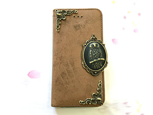 Owl phone leather wallet stand removable case cover for Apple / Samsung MN0654-icasecollections