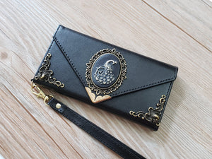 Peacock phone leather wallet case, handmade phone wallet cover for Apple / Samsung MN0762-icasecollections