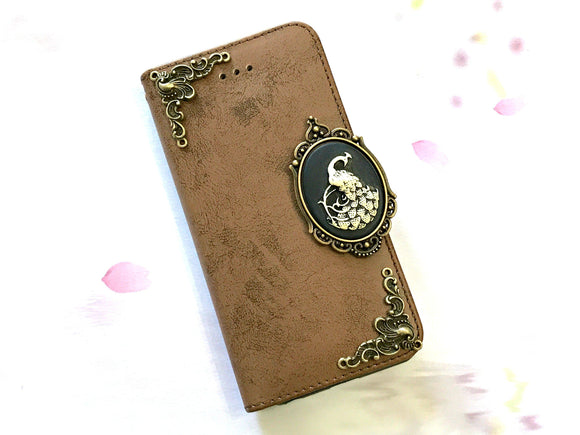 Peacock phone leather wallet stand removable case cover for Apple / Samsung MN0651-icasecollections