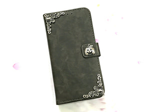 Pumpkin leather wallet handmade phone case cover for Apple / Samsung MN0602-icasecollections