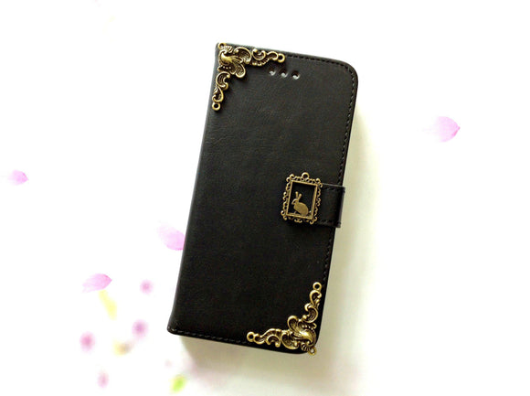 Rabbit handmade phone leather wallet case for Apple / Samsung MN0008-icasecollections