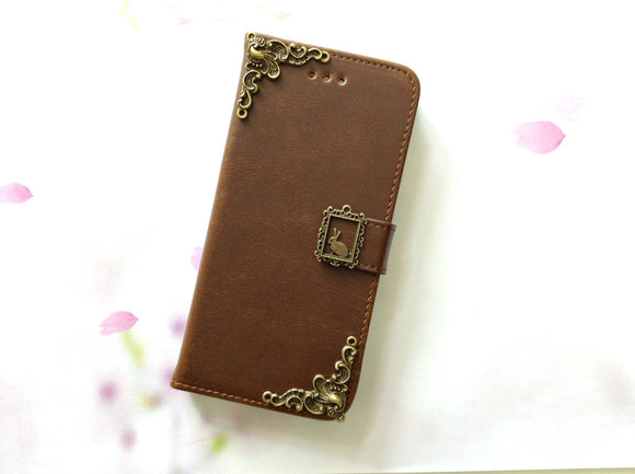 Rabbit handmade phone leather wallet case for Apple / Samsung MN0084-icasecollections