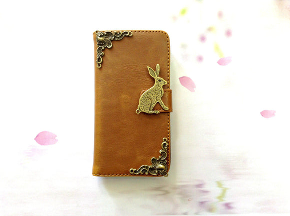 Rabbit handmade phone leather wallet case for Apple / Samsung MN0256-icasecollections
