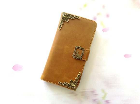 Rabbit handmade phone leather wallet case for Apple / Samsung MN0259-icasecollections