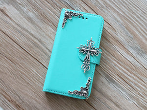 Religious Cross phone leather wallet removable case cover for Apple / Samsung MN0813-icasecollections