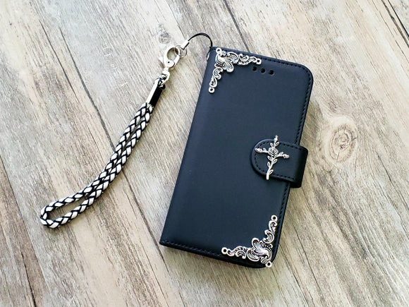 Rose cross phone leather wallet removable case cover for Apple / Samsung MN1067-icasecollections
