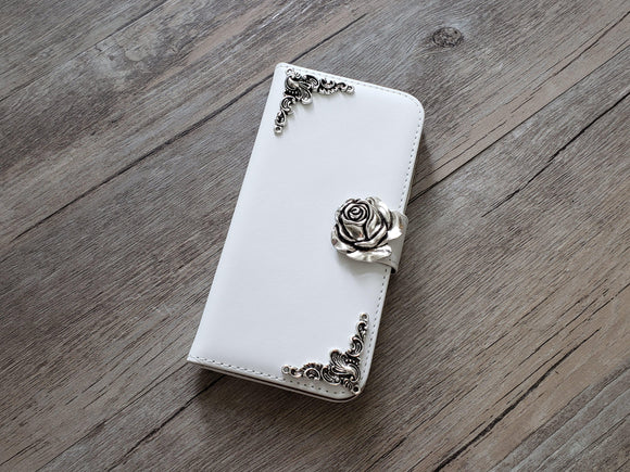 Rose leather wallet handmade phone case cover for Apple / Samsung MN0934-icasecollections