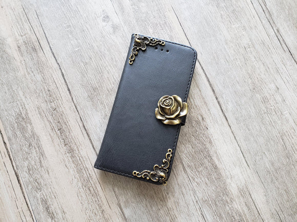 Rose leather wallet handmade phone case cover for Apple / Samsung MN1133-icasecollections