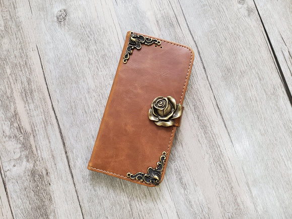 Rose leather wallet handmade phone case for Apple / Samsung MN1093-icasecollections
