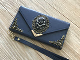 Rose phone leather wallet case, handmade phone wallet cover for Apple / Samsung MN0389-icasecollections