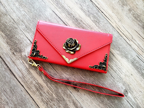 Rose phone leather wallet case, handmade phone wallet cover for Apple / Samsung MN0994-icasecollections