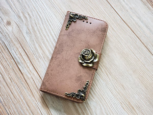 Rose phone leather wallet removable case cover for Apple / Samsung MN0825-icasecollections