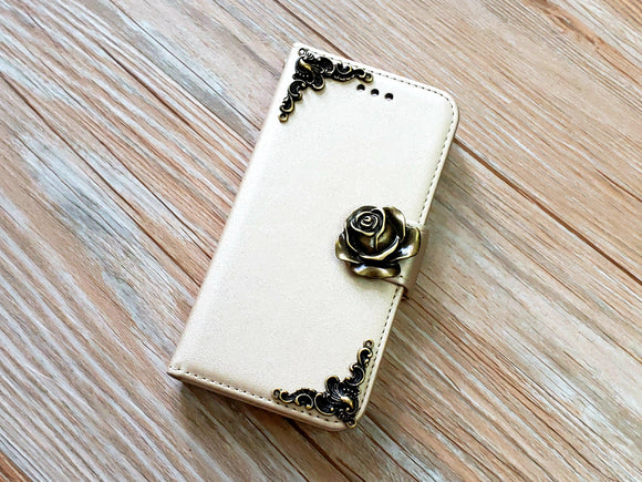 Rose phone leather wallet removable case cover for Apple / Samsung MN0857-icasecollections