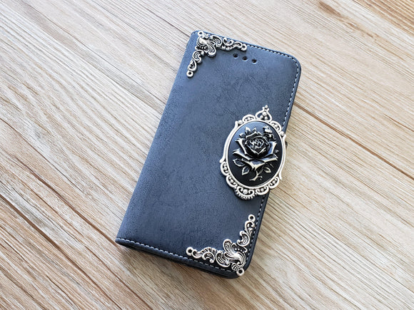 Rose phone leather wallet removable case cover for Apple / Samsung MN0886-icasecollections