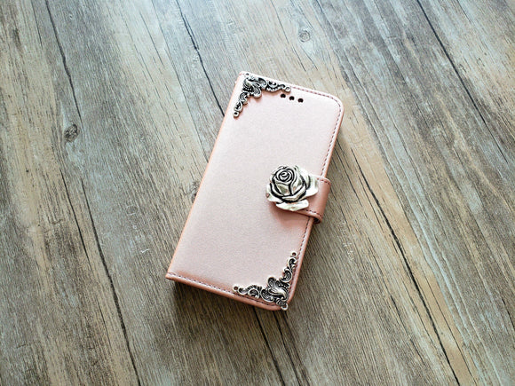 Rose phone leather wallet removable case cover for Apple / Samsung MN1170-icasecollections