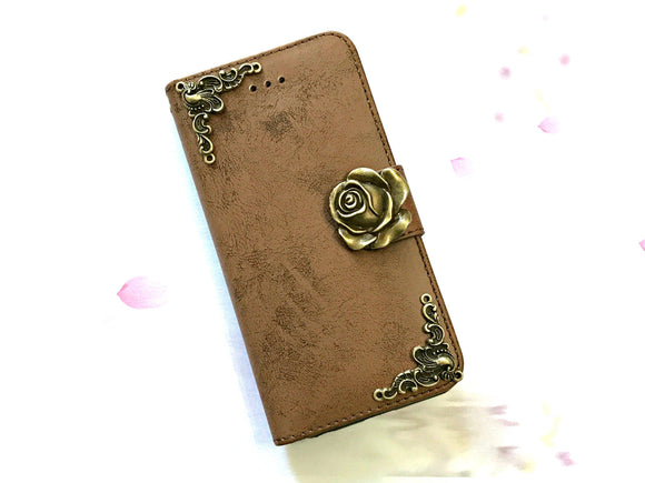 Rose phone leather wallet stand removable case cover for Apple / Samsung MN0649-icasecollections