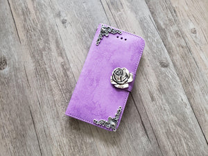 Rose phone leather wallet stand removable case cover for Apple / Samsung MN1007-icasecollections
