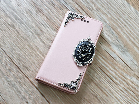 Rose removable phone leather wallet case for Apple / Samsung MN0039-icasecollections
