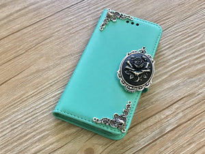 Rose removable phone leather wallet case for Apple / Samsung MN0225-icasecollections