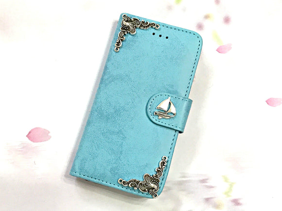 Sailboat phone leather wallet stand removable case cover for Apple / Samsung MN0634-icasecollections