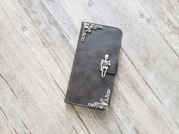 Skeleton skull leather wallet handmade phone case cover for Apple / Samsung MN1057-icasecollections